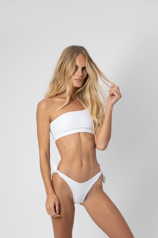 Jean High Waisted Adjustable Bikini Bottom White | ABYSSE (Made in USA)