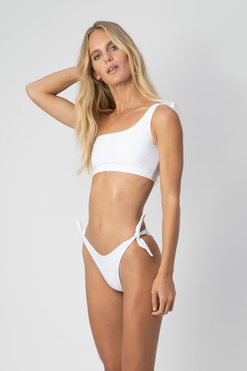Jones One-Shoulder Bikini Top- White | ABYSSE (Free Shipping in USA)