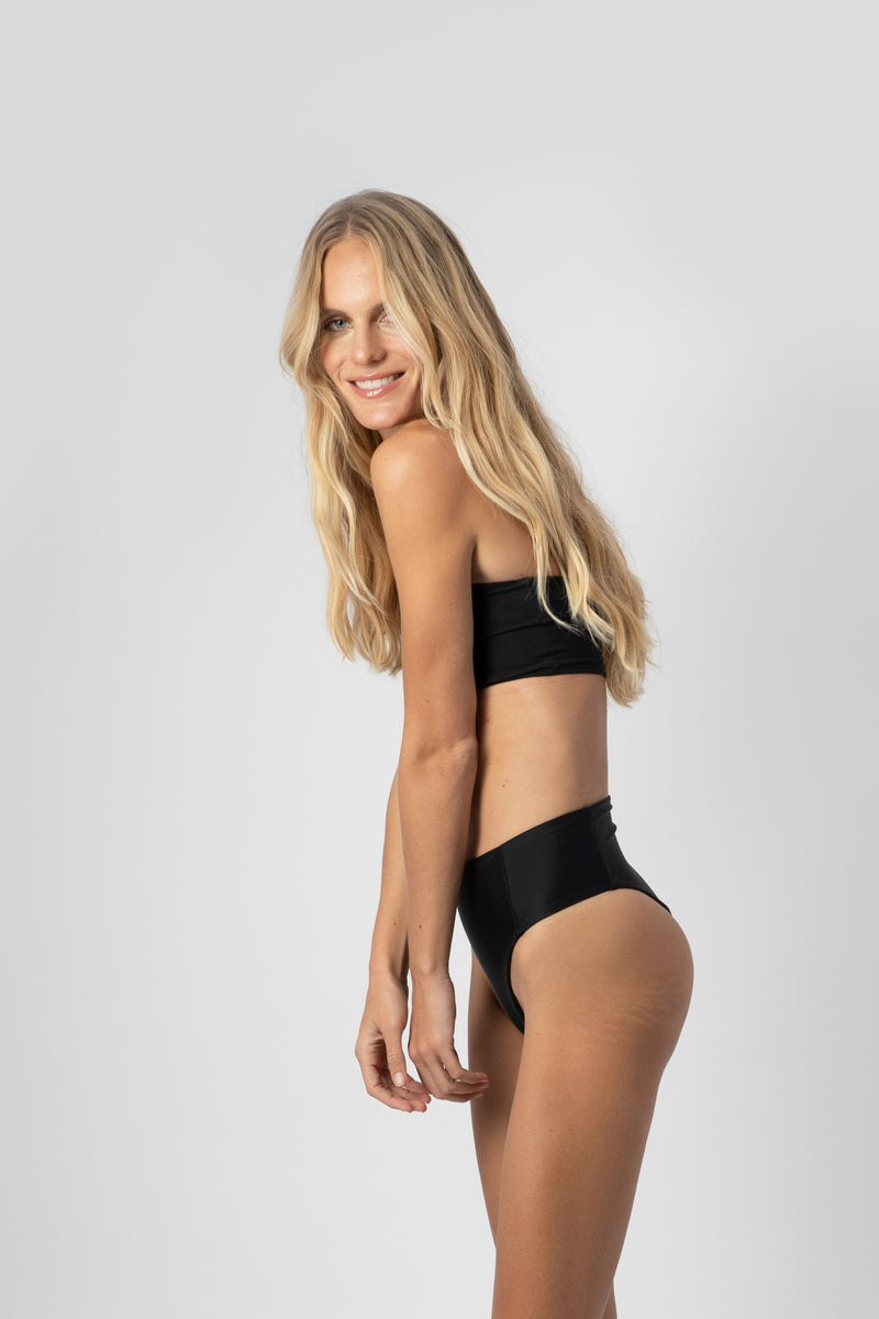 Benson | Sustainable High Waisted Bikini Bottom - Black | ABYSSE