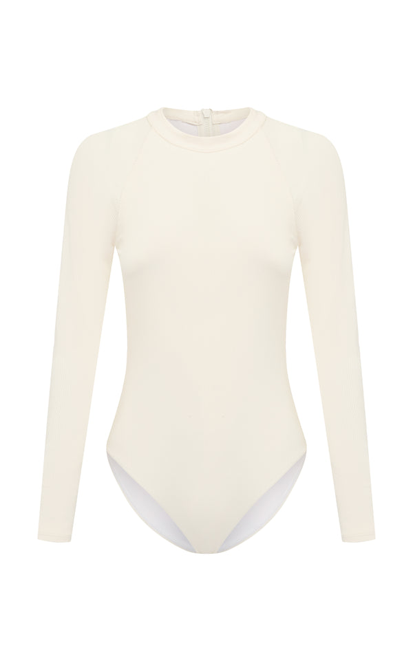 Ama | sustainable one piece long sleeve swimsuit -Dune-rib -cut out | ABYSSE