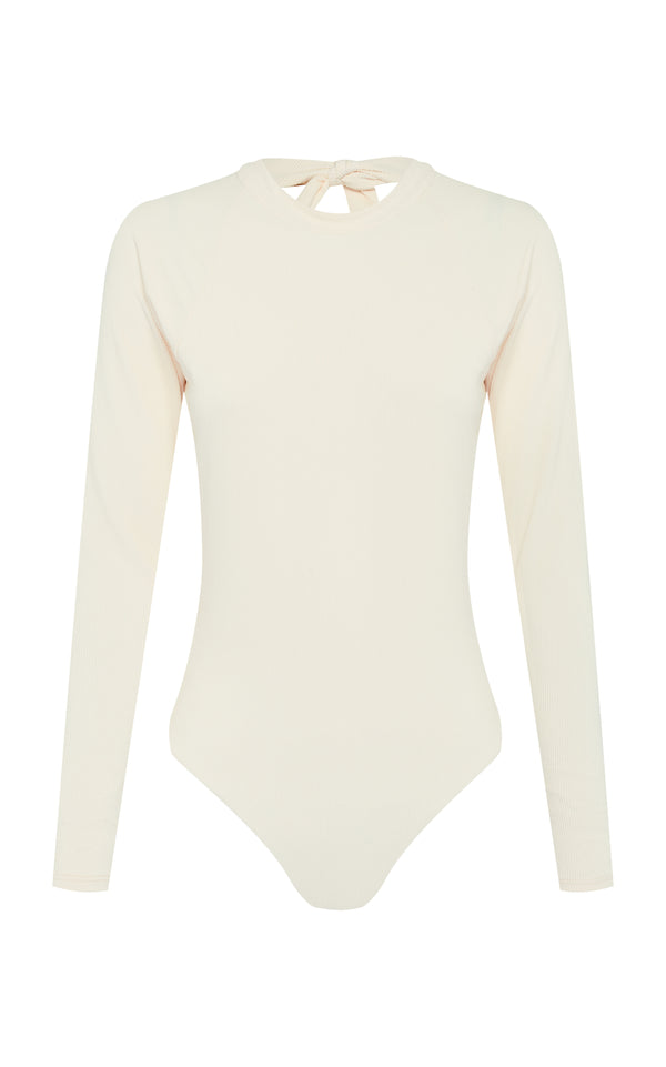 Billie | Sustainable One Piece Swimsuit - Long Sleeve - Dune-rib - cutout | ABYSSE