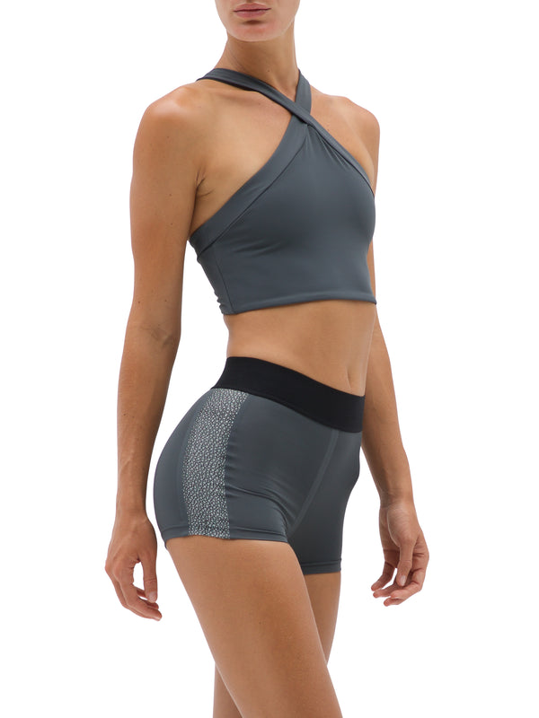 Shiva | Sustainable Econyl Sporty Top in Grey| ABYSSE