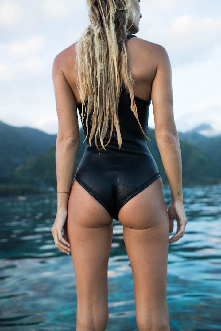 Elle Black Neoprene Bikini One-piece