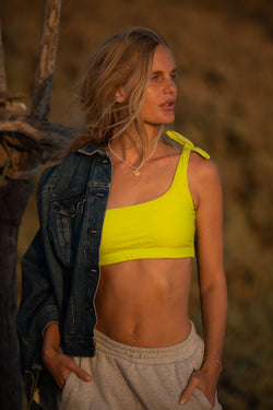 Jones One-Shoulder Bikini Top- Lime | ABYSSE (Free Shipping in USA)
