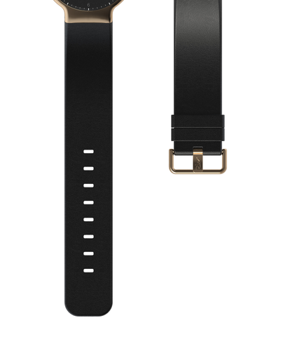 Black Leather Strap w. Rose gold Buckle