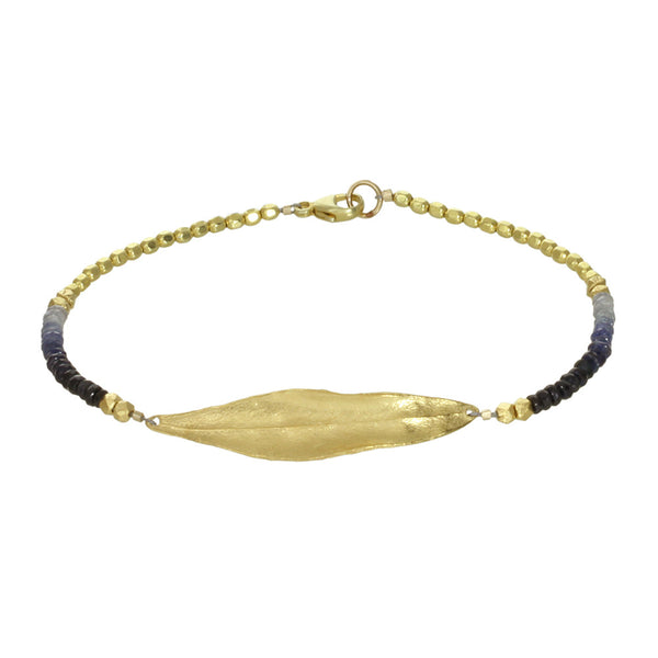 gemstone bracelet with olive leaf