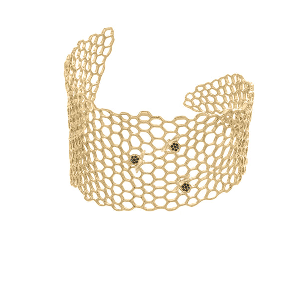 Honeycomb with Bees Cuff Bracelet