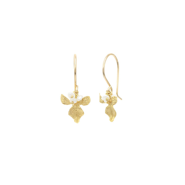 Small Orchid with Pearls Earrings