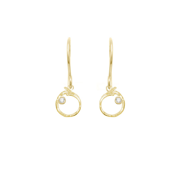 Branch Circle Seed Pod Solitaire Earrings