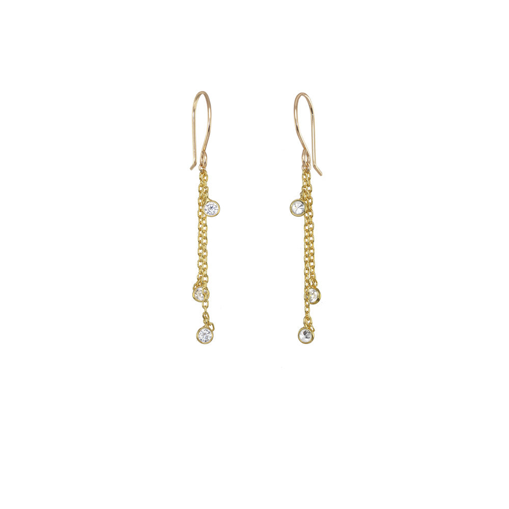 Mini Bezel Chain Earrings