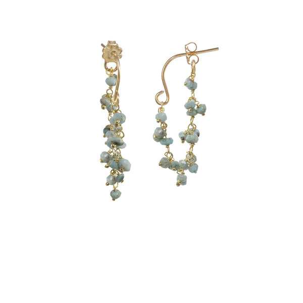 Gemstone Dangle Hoop Earrings