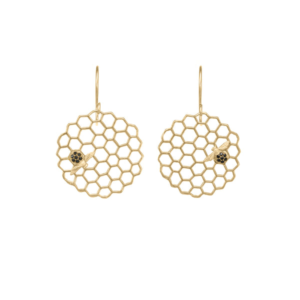 Honeycomb Disc Earrings