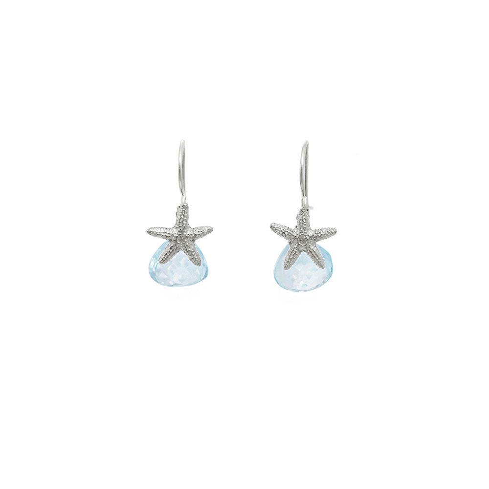 Starfish Earrings with Teardrop Gemstones