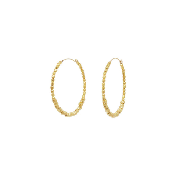 Faceted Bead Hoop Earrings