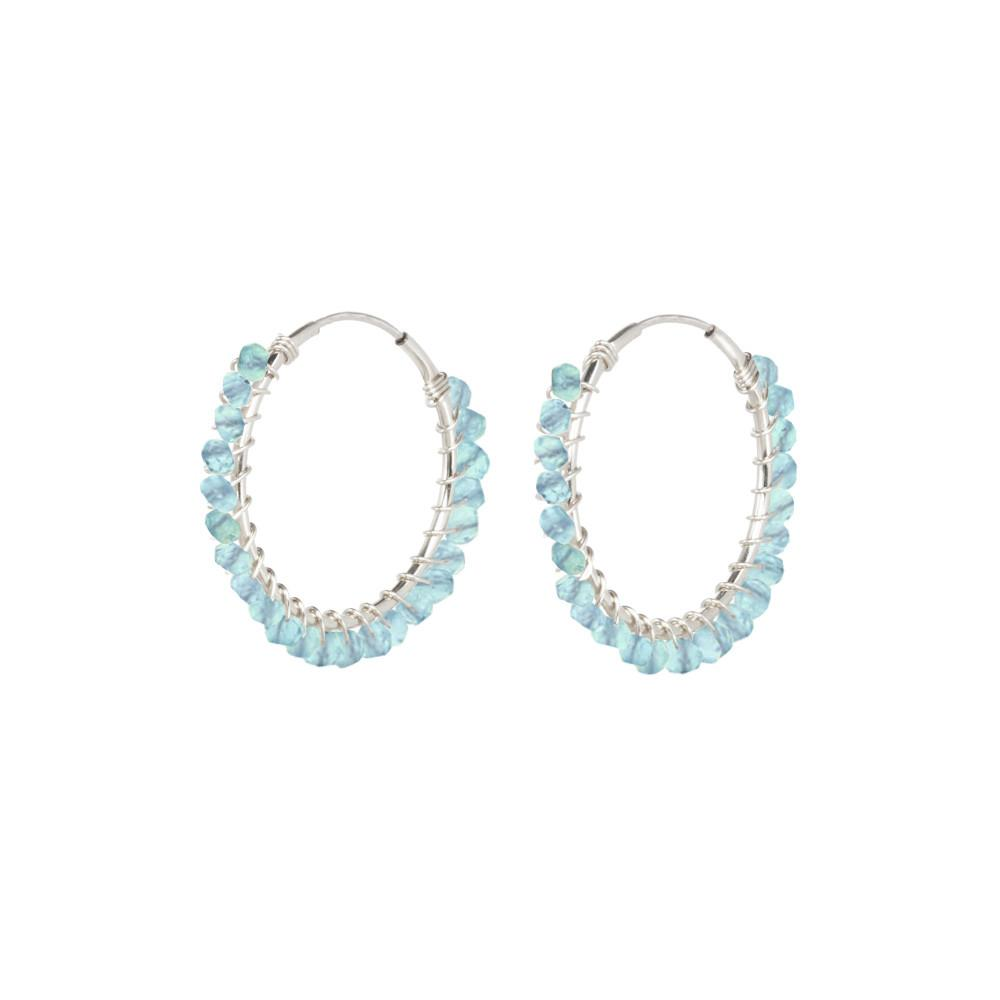 Gemstone Bead Hoop Earrings - Aqua Apatite