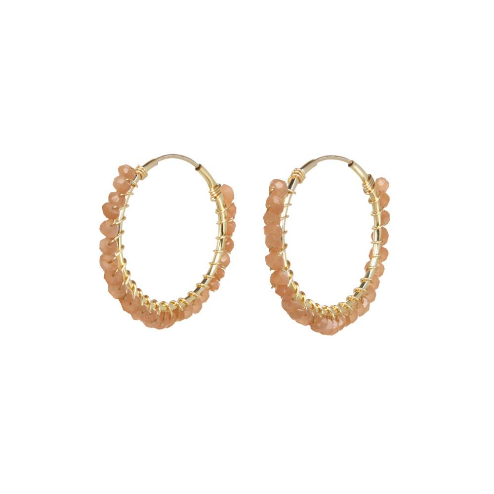 Gemstone Bead Hoop Earrings - Peach Moonstone