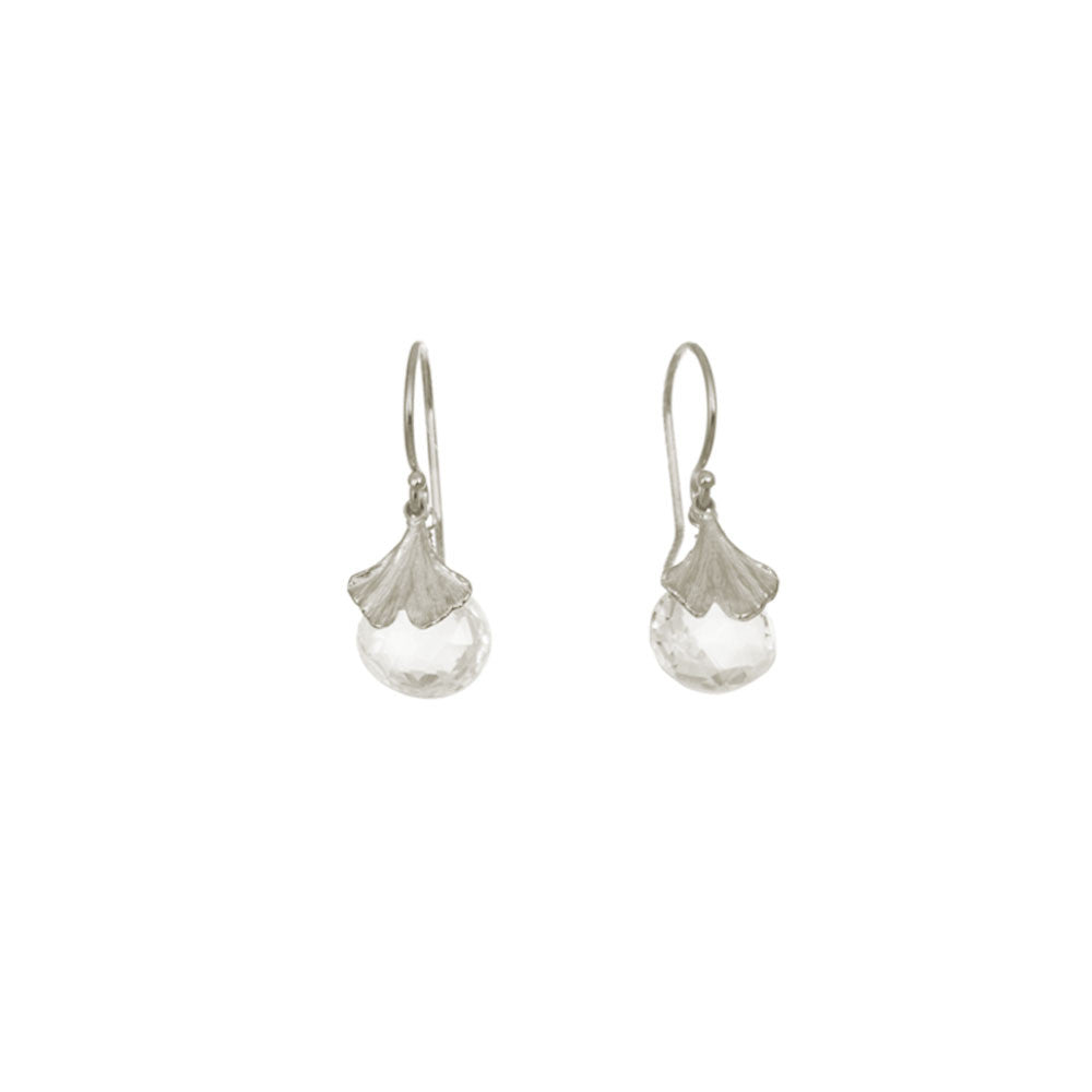 Mini Gingko Earrings with White Topaz