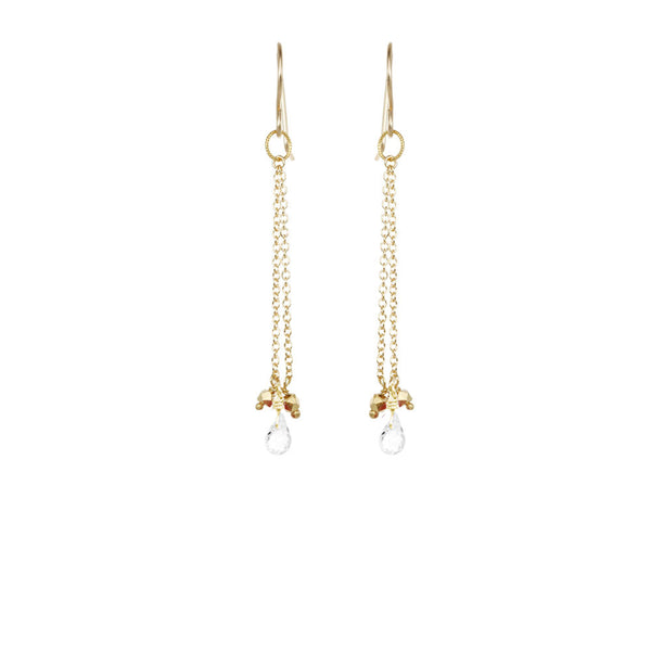 Briolette with Stone Chain Earrings