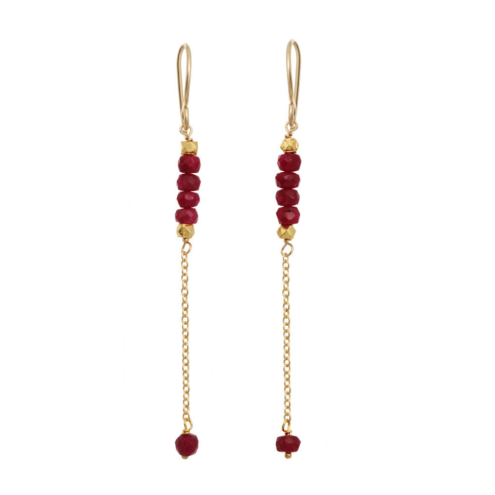 Rondelle Bar Earrings - Ruby