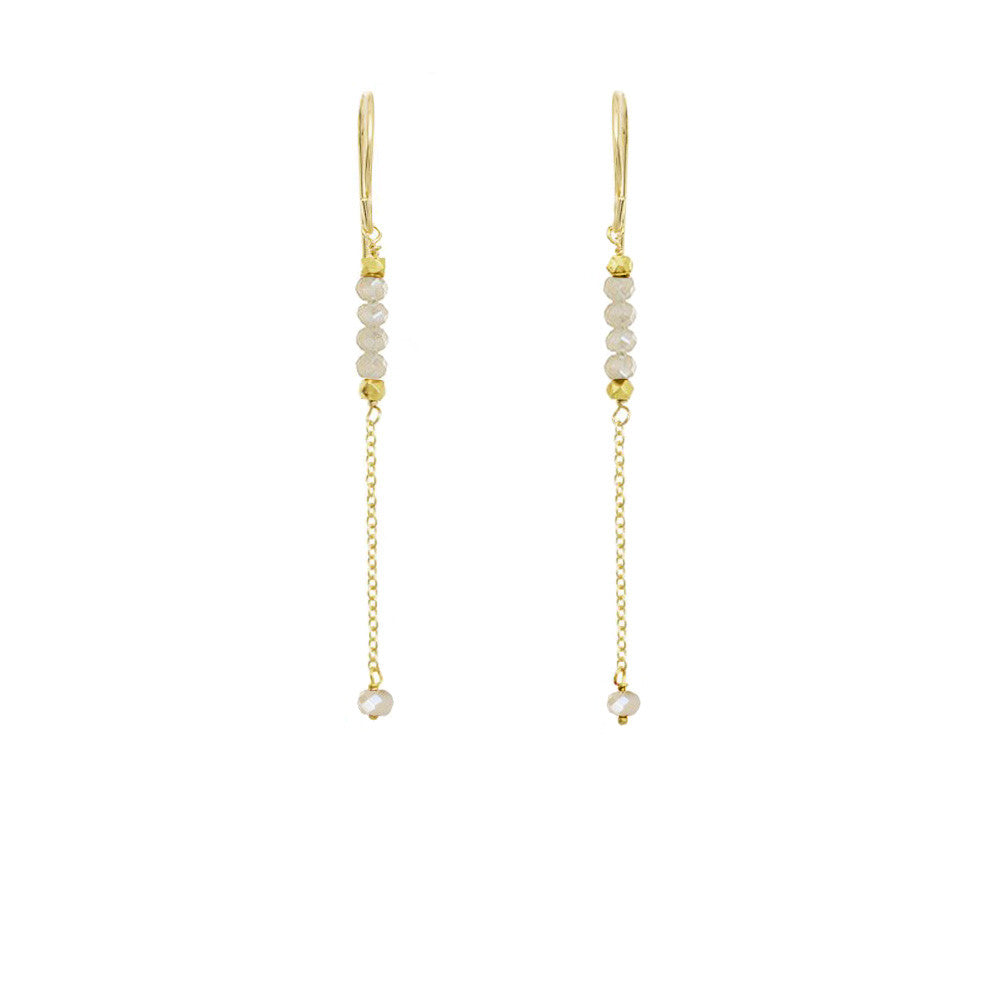 Long Gemstone Chain Earrings