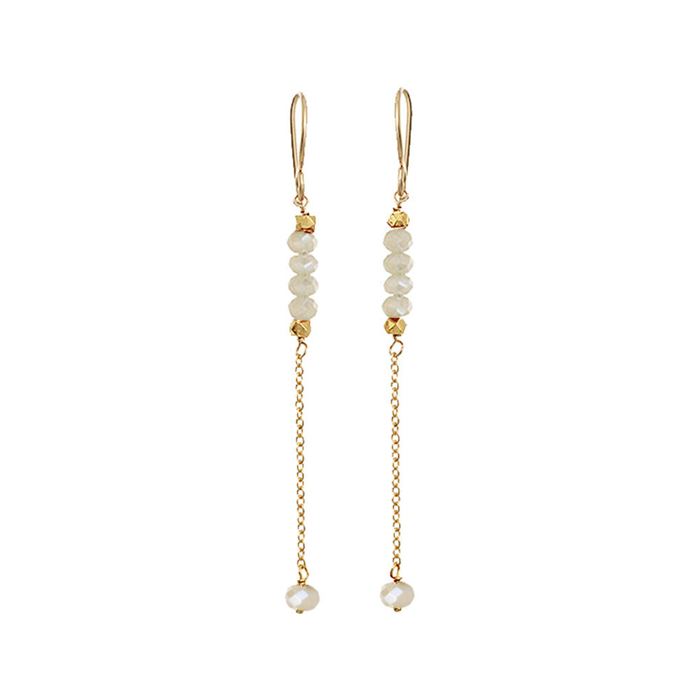 Rondelle Bar Earrings - White Mystic