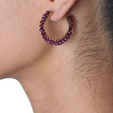 Gemstone Bead Hoop Earrings