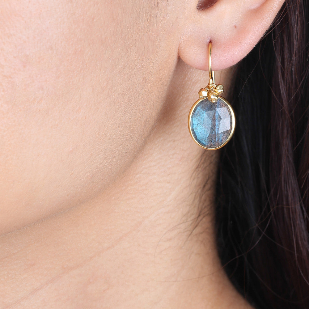 Bezel-Set Drop Earrings