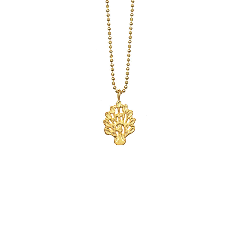 Peacock Charm Necklace - 18k Gold Vermeil