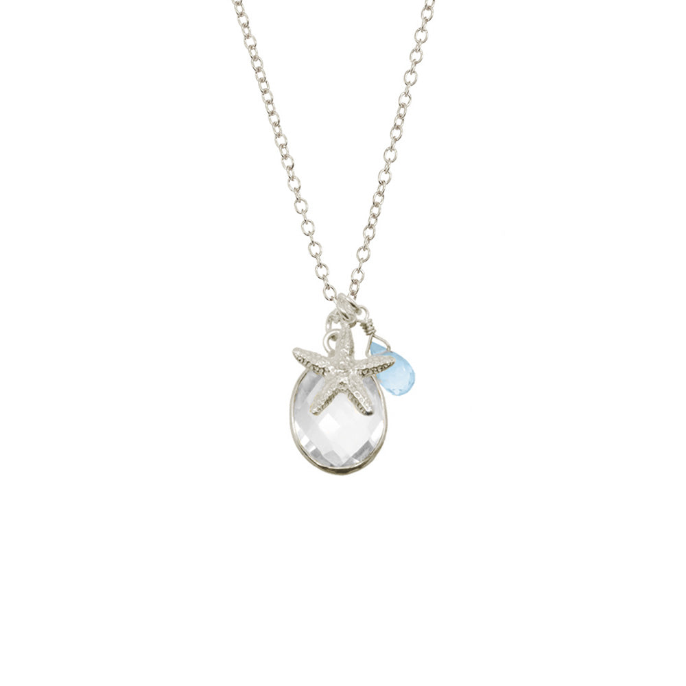 Small Starfish Bezel Charm Necklace