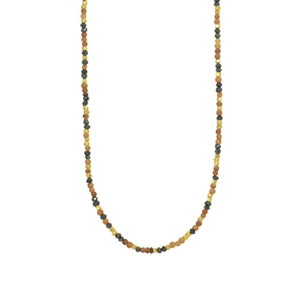 Beaded Wood and Black Spinel Necklace
