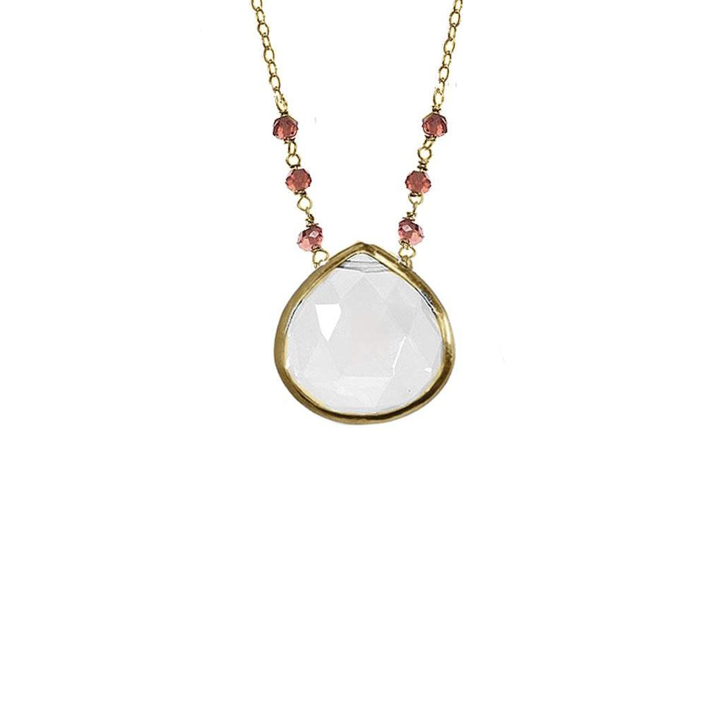 Large Teardrop Bezel Necklace with Stones