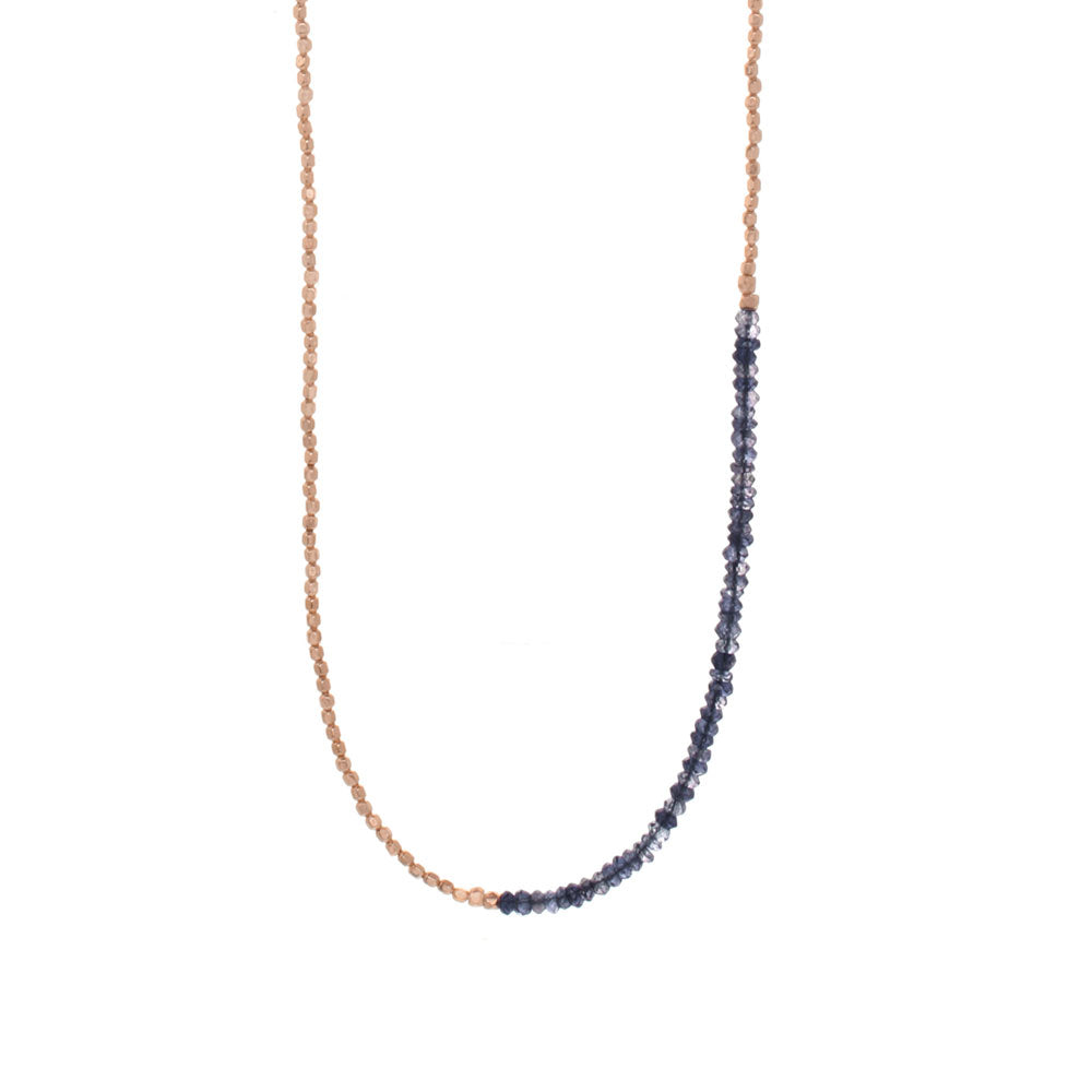Extra Long Gemstone Fade Necklace - Iolite and Rose Gold