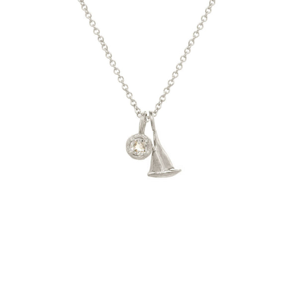 Mini Nautical Charm With Solitaire Necklace