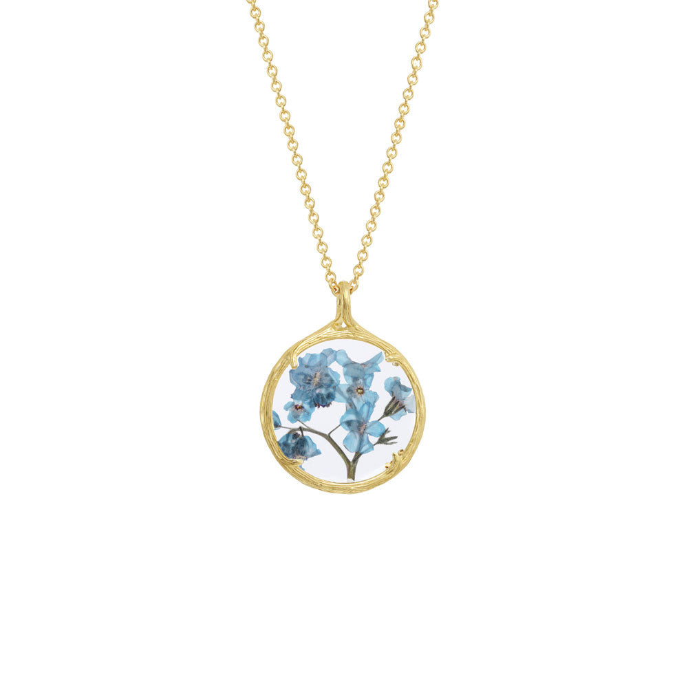 Catherine Weitzman Forget me not botanical necklace MqLwN