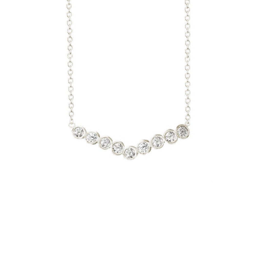 Wide Chevron Seed Pod Solitaire Necklace