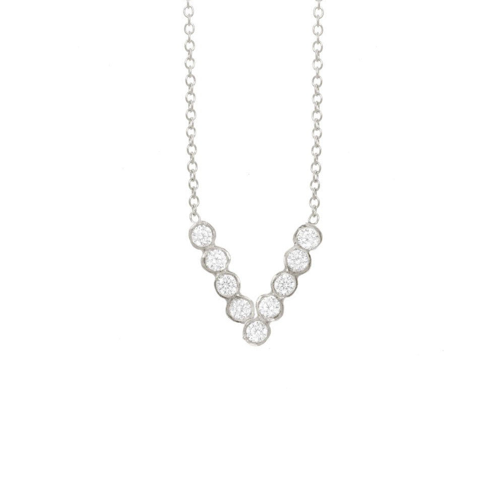 Narrow Chevron Seed Pod Solitaire Necklace