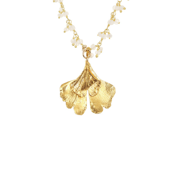 Double Gingko Cluster Necklace
