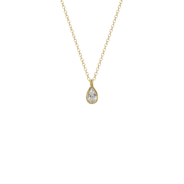 Mini Bezel Teardrop Solitaire Necklace
