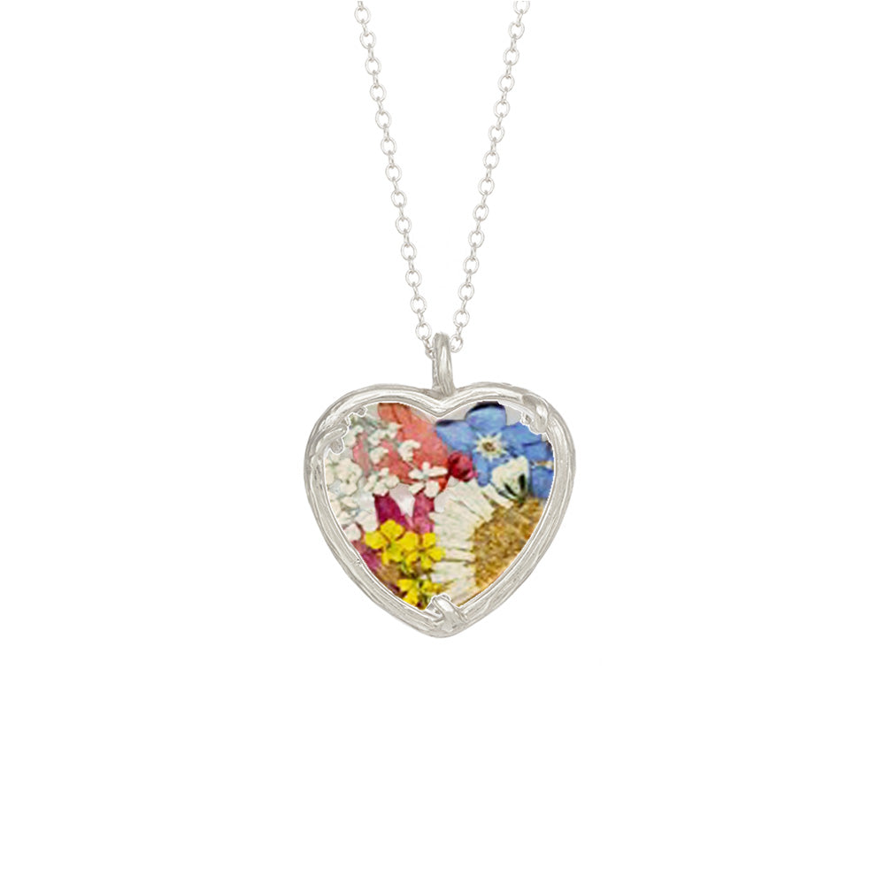 Large Bouquet Heart Necklace