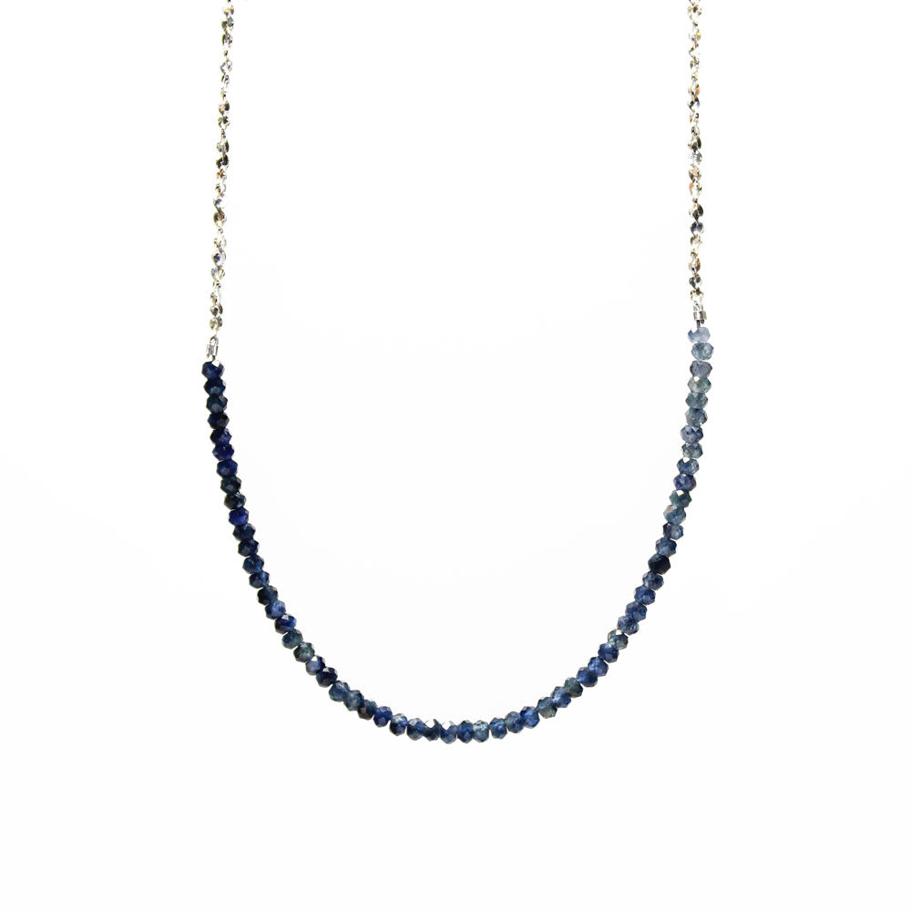 Long Gemstone Rondelle Necklace - Selected Silver Styles