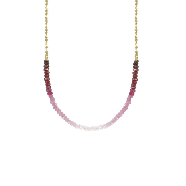 Long Gemstone Rondelle Necklace