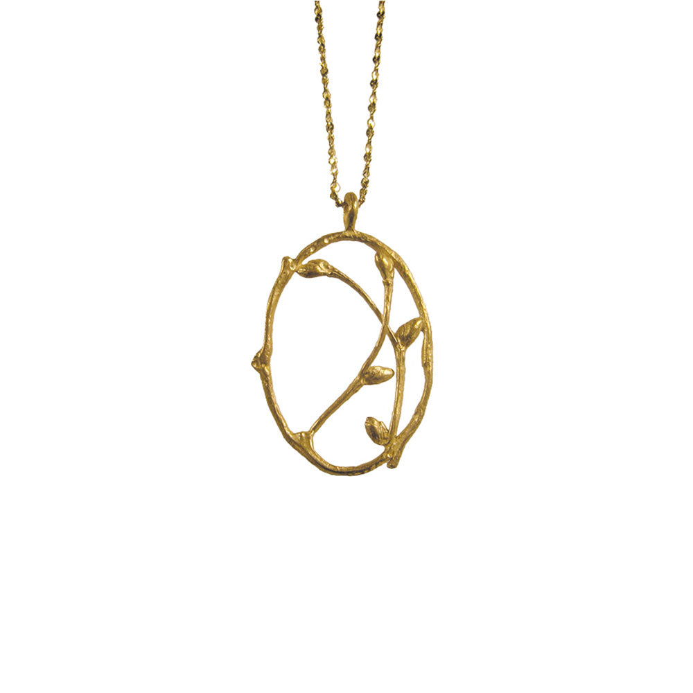 Small Oval Branch Necklace with Buds