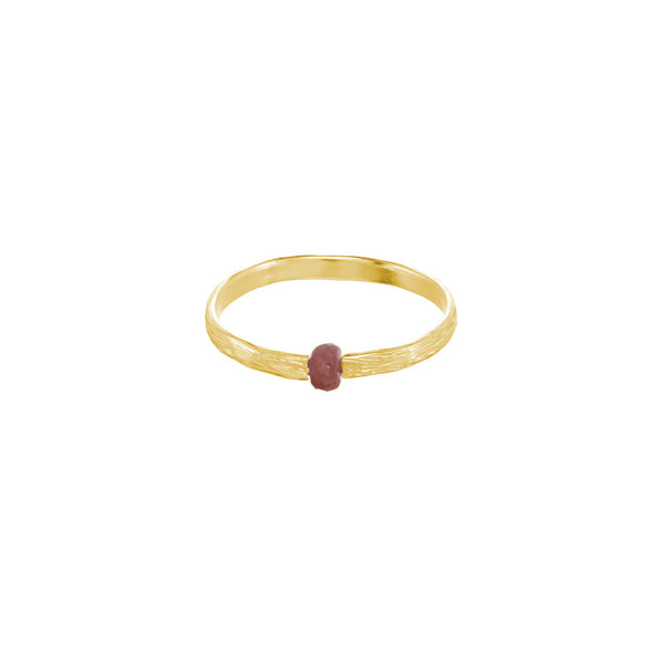 Koa Ring with Gemstone