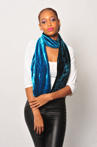 Two Tone Velvet Silk Scarf