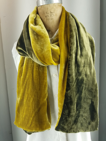 Two Tone silk velvet scarf Gold  and Olive