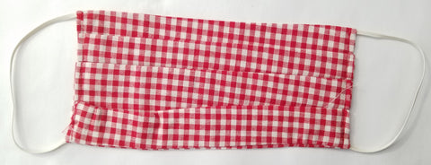 Cotton, Red and white checkered mask