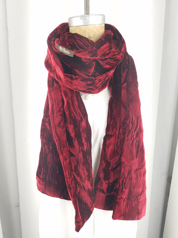 Deep red crushed velvet scarf