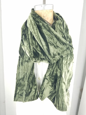 Dark Green Crushed Velvet Scarf