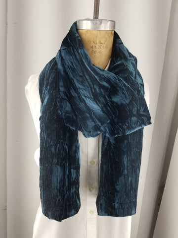 Caspian blue crushed velvet scarf