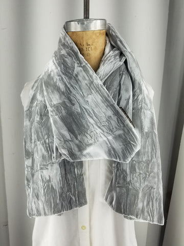 Silver grey crushed velvet scarf